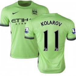 Men's 11 Aleksandar Kolarov Manchester City FC Jersey - 15/16 Premier League Club Nike Authentic Light Green Third Soccer Short