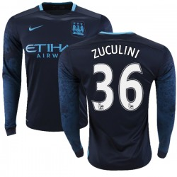 Men's 36 Bruno Zuculini Manchester City FC Jersey - 15/16 Premier League Club Nike Authentic Navy Away Soccer Long Sleeve Shirt
