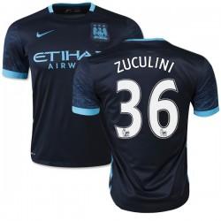 Men's 36 Bruno Zuculini Manchester City FC Jersey - 15/16 Spain Football Club Nike Authentic Navy Away Soccer Short Shirt