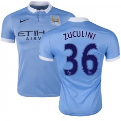 Men's 36 Bruno Zuculini Manchester City FC Jersey - 15/16 Spain Football Club Nike Authentic Sky Blue Home Soccer Short Shirt