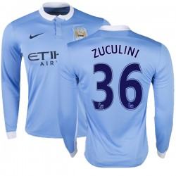 Youth 36 Bruno Zuculini Manchester City FC Jersey - 15/16 Premier League Club Nike Replica Sky Blue Home Soccer Long Sleeve Shir