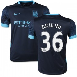 Youth 36 Bruno Zuculini Manchester City FC Jersey - 15/16 Spain Football Club Nike Authentic Navy Away Soccer Short Shirt