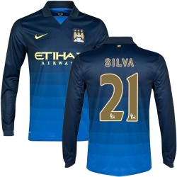 Men's 21 David Silva Manchester City FC Jersey - 14/15 Spain Football Club Nike Authentic Dark Blue Away Soccer Long Sleeve Shir