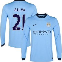 Men's 21 David Silva Manchester City FC Jersey - 14/15 Spain Football Club Nike Authentic Sky Blue Home Soccer Long Sleeve Shirt