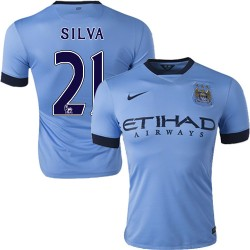 Men's 21 David Silva Manchester City FC Jersey - 14/15 Spain Football Club Nike Authentic Sky Blue Home Soccer Short Shirt
