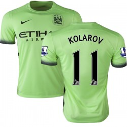 Men's 11 Aleksandar Kolarov Manchester City FC Jersey - 15/16 Premier League Club Nike Replica Light Green Third Soccer Short Sh
