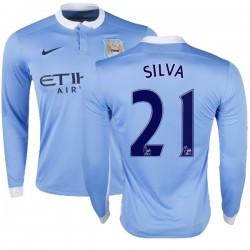 Men's 21 David Silva Manchester City FC Jersey - 15/16 Premier League Club Nike Authentic Sky Blue Home Soccer Long Sleeve Shirt