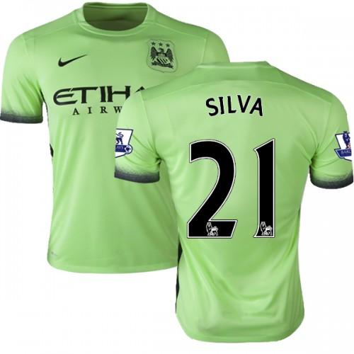 finest selection dc69b 41933 Men's 21 David Silva Manchester City FC Jersey - 15/16 Premier League Club  Nike Replica Light Green Third Soccer Short Shirt