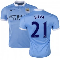Men's 21 David Silva Manchester City FC Jersey - 15/16 Spain Football Club Nike Authentic Sky Blue Home Soccer Short Shirt