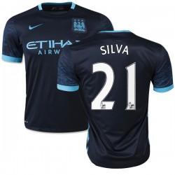 Men's 21 David Silva Manchester City FC Jersey - 15/16 Spain Football Club Nike Replica Navy Away Soccer Short Shirt