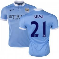 Men's 21 David Silva Manchester City FC Jersey - 15/16 Spain Football Club Nike Replica Sky Blue Home Soccer Short Shirt
