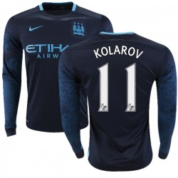 Men's 11 Aleksandar Kolarov Manchester City FC Jersey - 15/16 Premier League Club Nike Replica Navy Away Soccer Long Sleeve Shir