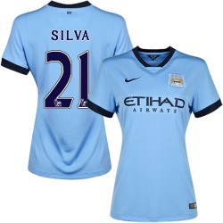 Women's 21 David Silva Manchester City FC Jersey - 14/15 Spain Football Club Nike Authentic Sky Blue Home Soccer Short Shirt