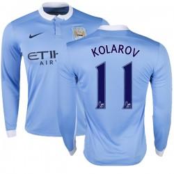 Men's 11 Aleksandar Kolarov Manchester City FC Jersey - 15/16 Premier League Club Nike Replica Sky Blue Home Soccer Long Sleeve