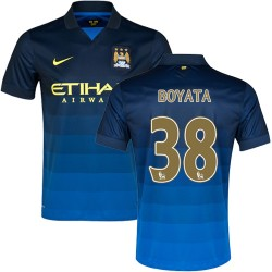 Men's 38 Dedryck Boyata Manchester City FC Jersey - 14/15 Spain Football Club Nike Replica Dark Blue Away Soccer Short Shirt