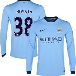 Men's 38 Dedryck Boyata Manchester City FC Jersey - 14/15 Spain Football Club Nike Replica Sky Blue Home Soccer Long Sleeve Shir