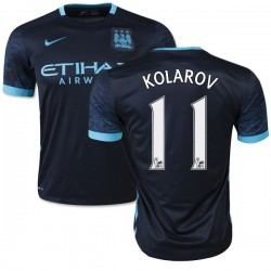 Men's 11 Aleksandar Kolarov Manchester City FC Jersey - 15/16 Spain Football Club Nike Authentic Navy Away Soccer Short Shirt