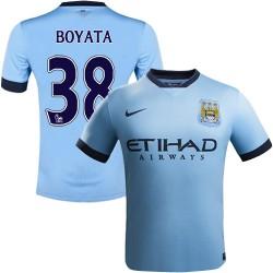 Youth 38 Dedryck Boyata Manchester City FC Jersey - 14/15 Spain Football Club Nike Authentic Sky Blue Home Soccer Short Shirt