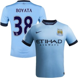 Youth 38 Dedryck Boyata Manchester City FC Jersey - 14/15 Spain Football Club Nike Replica Sky Blue Home Soccer Short Shirt