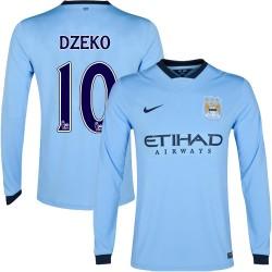 Men's 10 Edin Dzeko Manchester City FC Jersey - 14/15 Spain Football Club Nike Authentic Sky Blue Home Soccer Long Sleeve Shirt