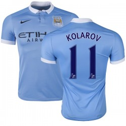 Men's 11 Aleksandar Kolarov Manchester City FC Jersey - 15/16 Spain Football Club Nike Authentic Sky Blue Home Soccer Short Shir