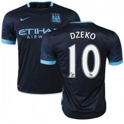 Men's 10 Edin Dzeko Manchester City FC Jersey - 15/16 Spain Football Club Nike Authentic Navy Away Soccer Short Shirt