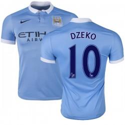 Men's 10 Edin Dzeko Manchester City FC Jersey - 15/16 Spain Football Club Nike Authentic Sky Blue Home Soccer Short Shirt