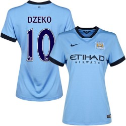 Women's 10 Edin Dzeko Manchester City FC Jersey - 14/15 Spain Football Club Nike Replica Sky Blue Home Soccer Short Shirt