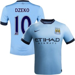 Youth 10 Edin Dzeko Manchester City FC Jersey - 14/15 Spain Football Club Nike Authentic Sky Blue Home Soccer Short Shirt