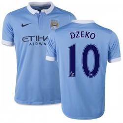 Youth 10 Edin Dzeko Manchester City FC Jersey - 15/16 Spain Football Club Nike Authentic Sky Blue Home Soccer Short Shirt