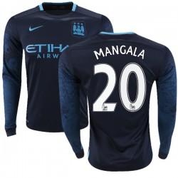 Men's 20 Eliaquim Mangala Manchester City FC Jersey - 15/16 Premier League Club Nike Authentic Navy Away Soccer Long Sleeve Shir