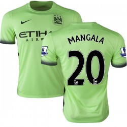 Men's 20 Eliaquim Mangala Manchester City FC Jersey - 15/16 Premier League Club Nike Replica Light Green Third Soccer Short Shir