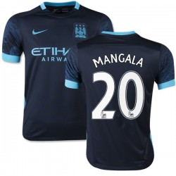 Youth 20 Eliaquim Mangala Manchester City FC Jersey - 15/16 Spain Football Club Nike Replica Navy Away Soccer Short Shirt