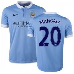 Youth 20 Eliaquim Mangala Manchester City FC Jersey - 15/16 Spain Football Club Nike Replica Sky Blue Home Soccer Short Shirt