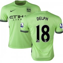 Men's 18 Fabian Delph Manchester City FC Jersey - 15/16 Premier League Club Nike Authentic Light Green Third Soccer Short Shirt