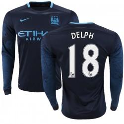 Men's 18 Fabian Delph Manchester City FC Jersey - 15/16 Premier League Club Nike Authentic Navy Away Soccer Long Sleeve Shirt