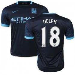 Men's 18 Fabian Delph Manchester City FC Jersey - 15/16 Spain Football Club Nike Authentic Navy Away Soccer Short Shirt