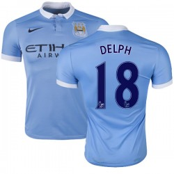 Men's 18 Fabian Delph Manchester City FC Jersey - 15/16 Spain Football Club Nike Replica Sky Blue Home Soccer Short Shirt