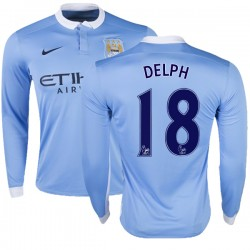 Youth 18 Fabian Delph Manchester City FC Jersey - 15/16 Premier League Club Nike Replica Sky Blue Home Soccer Long Sleeve Shirt