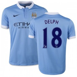 Youth 18 Fabian Delph Manchester City FC Jersey - 15/16 Spain Football Club Nike Authentic Sky Blue Home Soccer Short Shirt