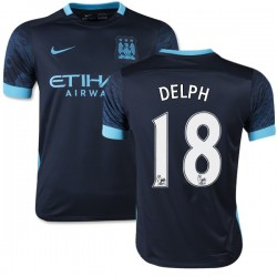 Youth 18 Fabian Delph Manchester City FC Jersey - 15/16 Spain Football Club Nike Replica Navy Away Soccer Short Shirt