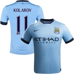 Youth 11 Aleksandar Kolarov Manchester City FC Jersey - 14/15 Spain Football Club Nike Authentic Sky Blue Home Soccer Short Shir