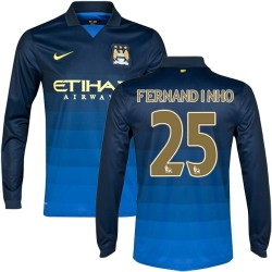 Men's 25 Fernandinho Manchester City FC Jersey - 14/15 Spain Football Club Nike Authentic Dark Blue Away Soccer Long Sleeve Shir