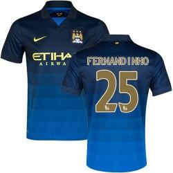 Men's 25 Fernandinho Manchester City FC Jersey - 14/15 Spain Football Club Nike Authentic Dark Blue Away Soccer Short Shirt