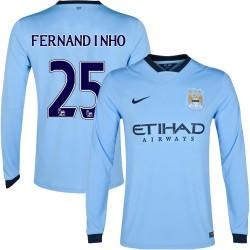 Men's 25 Fernandinho Manchester City FC Jersey - 14/15 Spain Football Club Nike Authentic Sky Blue Home Soccer Long Sleeve Shirt