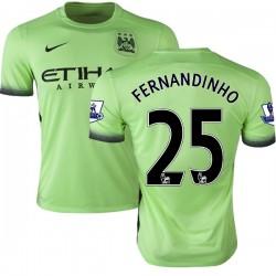 Men's 25 Fernandinho Manchester City FC Jersey - 15/16 Premier League Club Nike Authentic Light Green Third Soccer Short Shirt