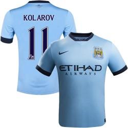Youth 11 Aleksandar Kolarov Manchester City FC Jersey - 14/15 Spain Football Club Nike Replica Sky Blue Home Soccer Short Shirt