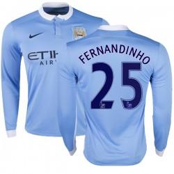 Men's 25 Fernandinho Manchester City FC Jersey - 15/16 Premier League Club Nike Replica Sky Blue Home Soccer Long Sleeve Shirt