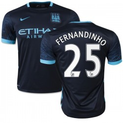 Men's 25 Fernandinho Manchester City FC Jersey - 15/16 Spain Football Club Nike Authentic Navy Away Soccer Short Shirt