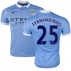 Men's 25 Fernandinho Manchester City FC Jersey - 15/16 Spain Football Club Nike Authentic Sky Blue Home Soccer Short Shirt